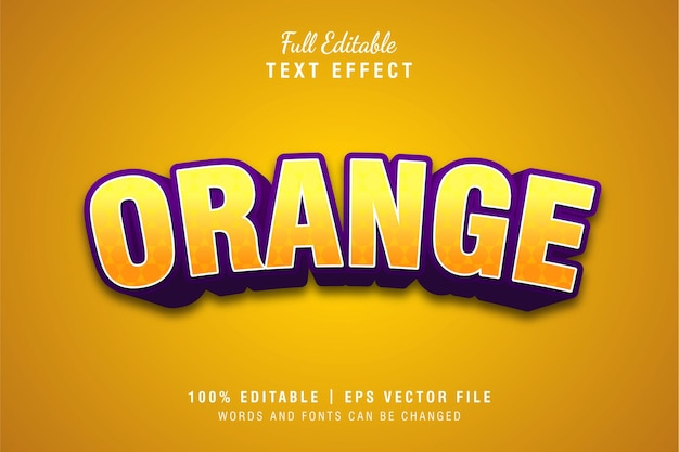 오렌지 3d 텍스트 스타일 효과 템플릿