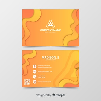 Orange abstract business card template Free Vector