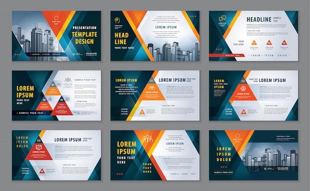 Orange abstract presentation templates set