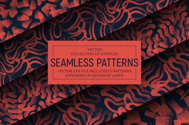 Orange abstract stippled seamless patterns set