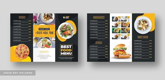 レストラン用のオレンジと黒のフードメニューの三つ折りパンフレット