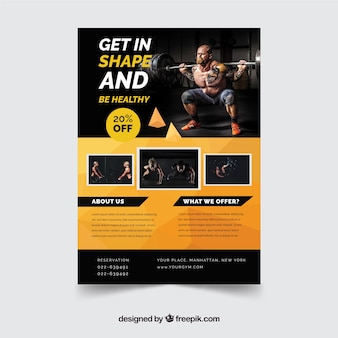 Orange and black gym flyer template with image
