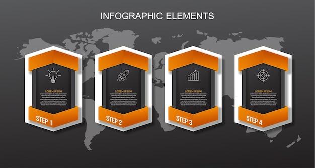 Оранжевый и черный шаблон элементов инфографики. Premium векторы