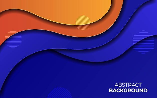 オレンジとブルーのカラーペーパーカットの背景