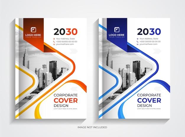 오렌지와 블루 기업 비즈니스 책 표지 템플릿 세트