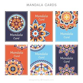 オレンジとブルーの曼荼羅カードのテンプレート