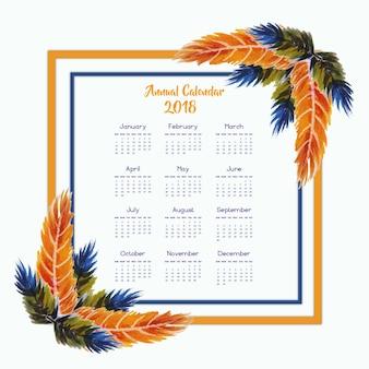 オレンジとブルーのウォーターカラーフェザーフレームカレンダー2018