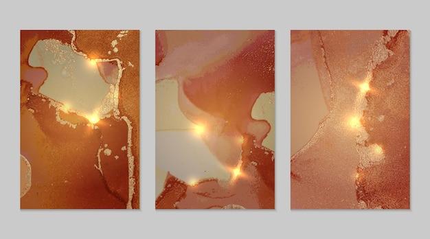 オレンジとゴールドの大理石の抽象的なテクスチャ Premiumベクター
