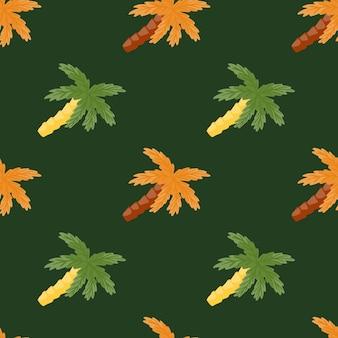 オレンジとグリーンのトロピカルパームツリーココナッツプリント。濃い緑色の背景。熱帯の自然の形。ファブリックデザイン、テキスタイルプリント、ラッピング、カバー用に設計されています。ベクトルイラスト。