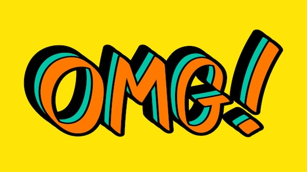 オレンジとグリーンのomg!黄色の背景に落書きのタイポグラフィ
