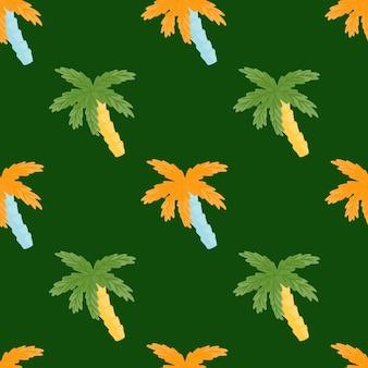 オレンジと緑のヤシの木の飾りのシームレスな落書きパターン。シンプルなスタイル。濃い緑色の背景。ファブリックデザイン、テキスタイルプリント、ラッピング、カバー用に設計されています。ベクトルイラスト。