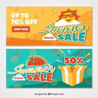 Orange and green summer sale banners