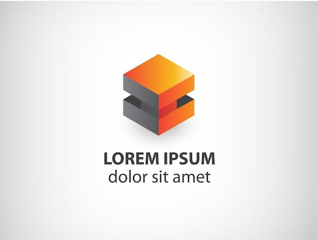 주황색과 회색 추상 큐브 로고