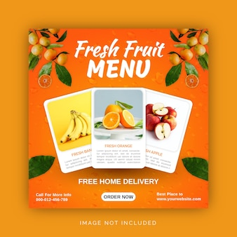 オレンジとレモンのフレッシュフルーツジュースメニューソーシャルメディア投稿テンプレート