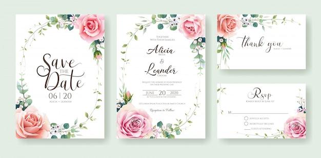 오렌지와 핑크 장미 꽃 결혼식 초대 카드 디자인 서식 파일입니다.