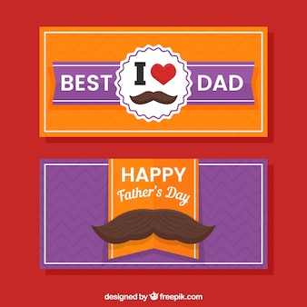 Оранжевые и фиолетовые баннеры дня отцов