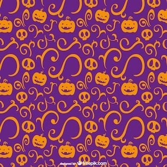 주황색과 보라색 할로윈 패턴