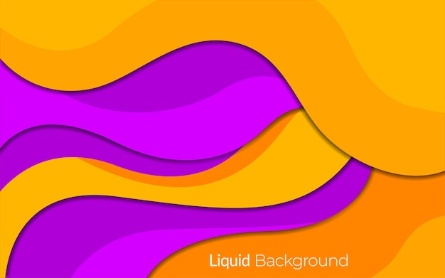 주황색과 보라색 미니멀 유체 모양 배경 디자인