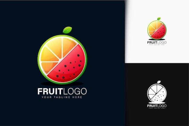 オレンジとスイカの果実のロゴデザイン