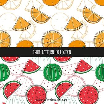 オレンジとスイカのパターンコレクション