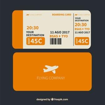 주황색과 흰색 탑승권