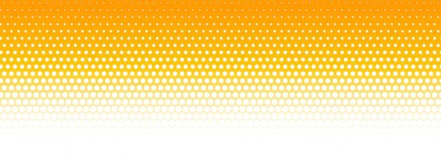 オレンジと白のハーフトーンパターンバナーの背景