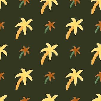 Оранжевый и желтый цвета элементы пальмы бесшовные модели. коричневый фон. произведение искусства природы. предназначен для тканевого дизайна, текстильной печати, упаковки, обложки. векторная иллюстрация.