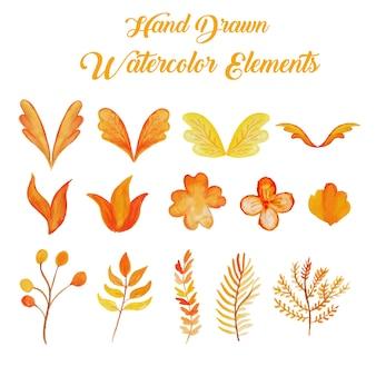 오렌지와 노란색 손으로 그린 수채화 요소 컬렉션
