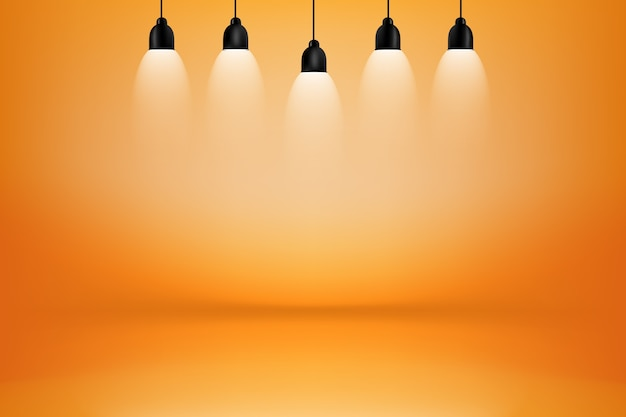 Оранжевый и желтый номер-студия с подсветкой