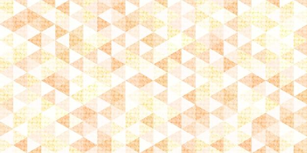 円の網目模様の抽象的な幾何学的な多角形の背景を持つオレンジと黄色の三角形のパターン