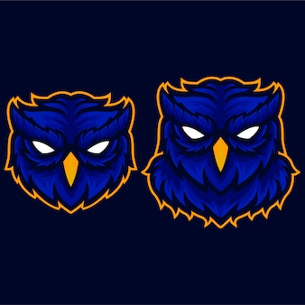 オレンジ色の怒っているフクロウの翼のロゴのテンプレート