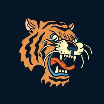 オレンジ色の怒っている虎の古い学校の入れ墨 Premiumベクター