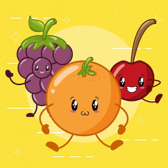 Orange, apple and grape smiling in kawaaii style
