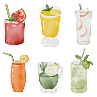 Succo di arancia, mela, limone, avocado, pesca e melograno in vetro, set di succhi di frutta in stile acquerello