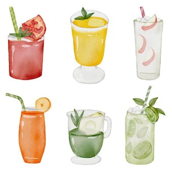 Orange, apple, lemon, avocado, peach and pomegranate juice in glass, set of fruit juice in watercolor style