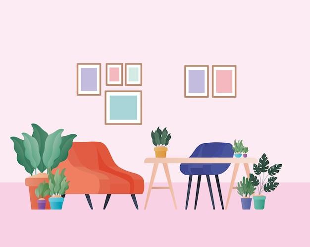オレンジの肘掛け椅子とリビングルームのデザイン、家の装飾インテリアリビングビルディングのアパートと住宅のテーマの植物とデスク