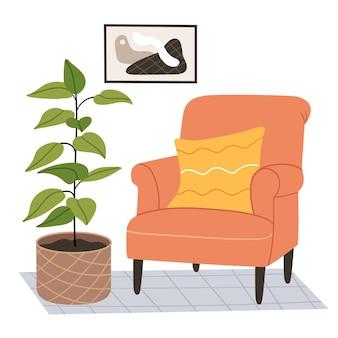 현대적인 방에 오렌지 안락 의자. 손으로 그린 그림