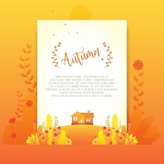 Orange Autumn Floral Beautiful Gradient Flowers for Invitation Card