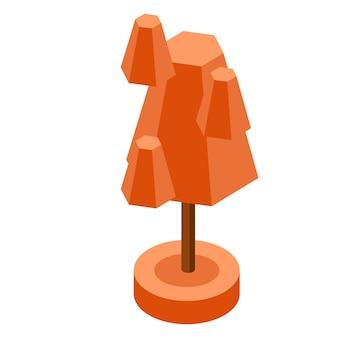게임 디자인을 위한 오렌지가 아이소메트릭 트리 벡터 일러스트 요소입니다.