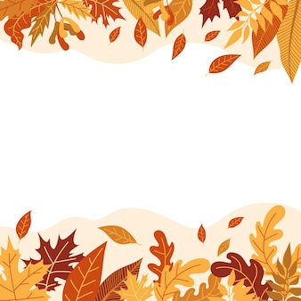 Orange autumn leaves vector illustration. autumn halloween frame with leaves, graphic icon or print isolated on white background. Premium Vector