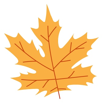 Orange autumn leaves vector illustration. autumn halloween frame with leaves, graphic icon or print isolated on white background.