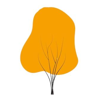 Orange autumn tree doodles vector any season winter, spring, summen and autumn. flat style handdraw