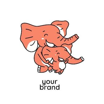 オレンジ色の赤ちゃんとお母さんの象の実行ロゴ