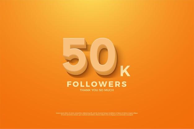 5 만 명의 팔로워를위한 주황색 배경과 숫자