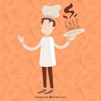 Orange background of chef