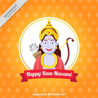 Orange background in flat design for ram navami