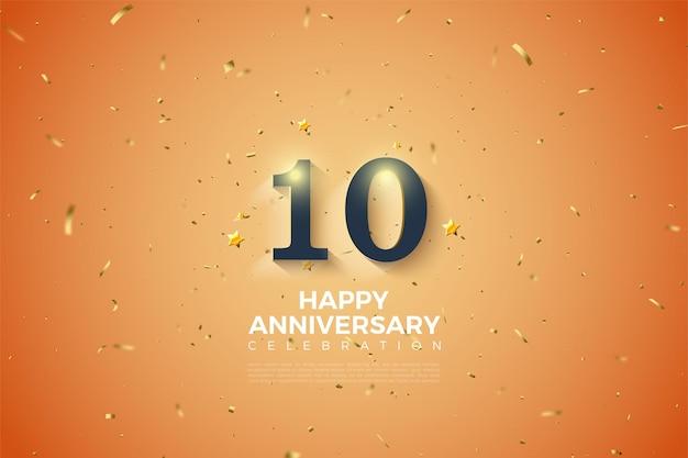 白い数字と書き込みで10周年のオレンジ色の背景
