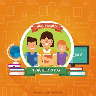 オレンジの背景、教師の日