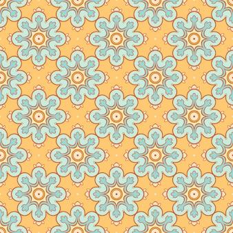 Orange background with blue flowers