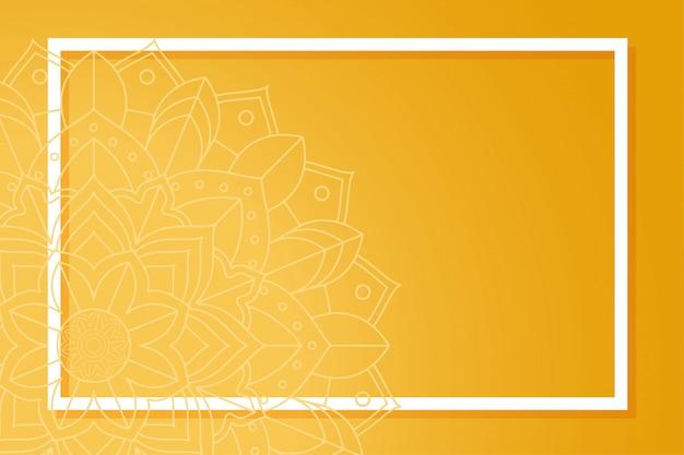 マンダラパターン上のフレームとオレンジ色の背景